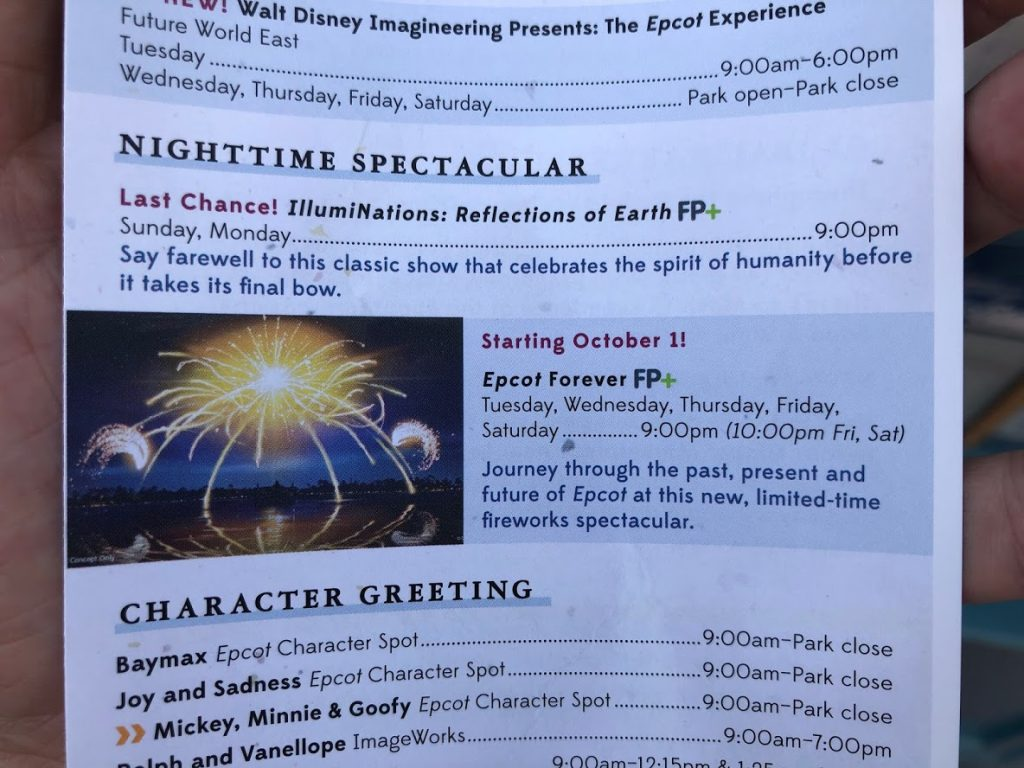 Illuminations Reflections of Earth finale Epcot show schedule