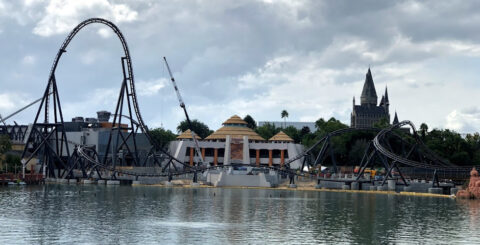 VelociCoaster IOA skyline construction featured