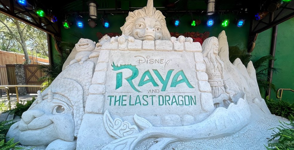 Animal Kingdom Raya and the Last Dragon sand sculpture featured